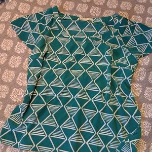 Fun Pattern Teal and and White Blouse!